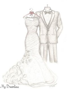 handcrafted wedding dress sketches make the best gift for wife. Wedding Dress Illustrations, Wedding Dress Sketches, Designer Wedding Dresses, Wedding Drawing, Wedding Painting, Fashion Design Portfolio, Fashion Design Sketches, Fashion Art, Fashion Models