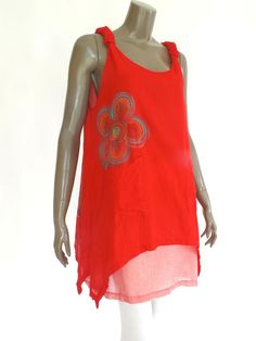 Red sleeveless Cotton Women BlouseTop with by NaniFashion on Etsy, $37.00
