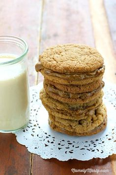 Vegan Molasses and Peanut Butter Cream Sandwich Cookies | Namely Marly. They're like a pair of white slacks, once considered only good for a season…but now you know they're great all year round!