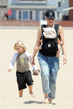 Gwen Stefani takes her boys Kingston, Zuma and Apollo to the beach on August 10, 2014