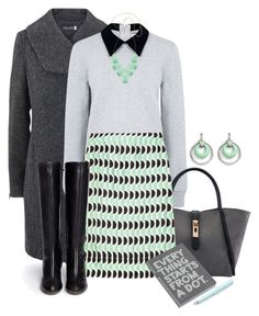 """""""3 Color Challenge Series Continued: Mint, Black & Gray #2"""" by melissa-chung-pnklmnade ❤ liked on Polyvore featuring Mint Velvet, Edit, Marni, Chloé, Kendra Scott and Nuuna"""