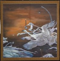 Japanese Screen: Snow Goose in Flight