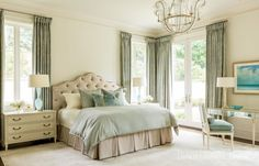 Decor The home's soothing palette continues in the master bedroom where soft blue and ivory encourage rest and relaxation. - Photo: Rett Peek / Design: Melissa Haynes - A pair of physicians aim for visual wellness in their newly built Arkansas home Arkansas, Plywood Furniture, Furniture Design, Chair Design, Modern Furniture, Cozy Bedroom, Bedroom Sets, Traditional Decor, Traditional House