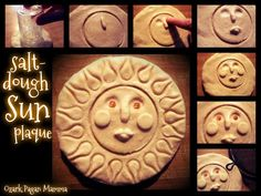 salt dough sun plaque - - With the Summer Solstice coming up this month, I thought I'd share this fun little sun plaque craft. I used strong salt dough, because I had a batch on hand, but you can use regular salt doug…. Salt Dough Crafts, Salt Dough Ornaments, Homemade Ornaments, Diy Ornaments, Fun Crafts, Arts And Crafts, Tree Crafts, Wiccan Crafts, Sabbats