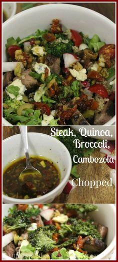 Chopped w Steak, Quinoa, Broccoli, Cambozola Quinoa Broccoli, Broccoli Recipes, Beef Recipes, Real Food Recipes, Cooking Recipes, Gluten Free Sides Dishes, Veggie Side Dishes, Healthy Dishes