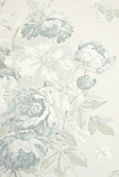 Garden Peony Wallpaper A light taupe wallpaper with large floral print design in grey, lead blue and sage green.
