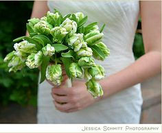 Gorgeous Bridal Bouquet Comprised Of: Green Parrot Tulips + Greenery
