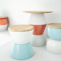 Philosophy Flip are stools that can be assembled in hundreds of configurations. The design comprises four smart components that can be combined to customize their height, form and color. The two base shapes can be flipped to create a variety