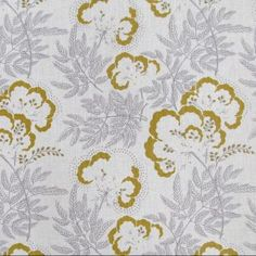 Cloud Garden Fabric A pretty floral fabric in grey and olive, hand printed onto soft antique linen. Part of a collection inspired by the work of British designer Ernest Gimson. Designed, manufactured and printed in the United Kingdom. Yellow Fabric, Floral Fabric, Textile Patterns, Print Patterns, Textiles, Grey Pattern, Designer Wallpaper, Wallpaper Designs, Fabric Wallpaper