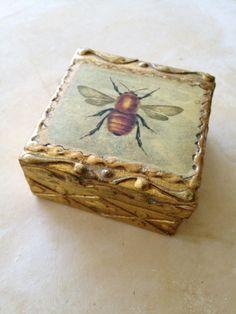bee BOX | Decoupage Italian Florentine Paper Mache BEE Box by PatinaPosh