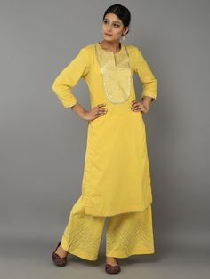 Yellow Cotton Gota Suit - Set of 3