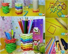 Met gekleurde rietjes een pennenbakje maken