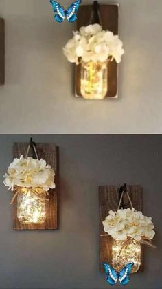 Mason Jars Sconce with Silk Hydrangea and LED Strip Lights Design 6 Hour Timer (Set of 2)  <br> Mason Jar Sconce, Mason Jars, Peace And Harmony, Prado, You Are The Father, Own Home, Pin Collection, Home Furniture, Sconces