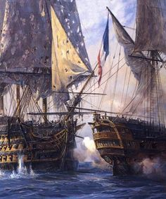 At that point, the bloodied but unbowed Victory collided with the French Redoubtable. Locked together, wrapped in sheets of flame, the two ships drifted slowly through the battle. Gradually, although the fighting continued unabated, the smoke thinned on the decks of the Victory, enough for French marksmen to see the English officers' epaulets.  A sniper kneeling in the mizzen-top of the Redoubtable aimed his musket at Nelson.