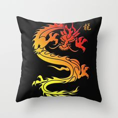 #dragon #animal #chinesedragon #Chinesezodiac #gold #black #pillow Available in different #society6 #homedecor products too.