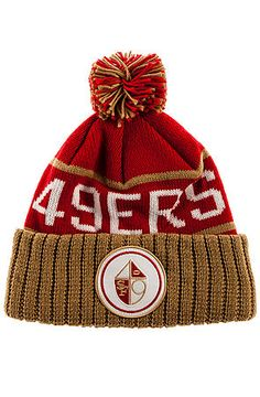 Mitchell  amp  Ness Hat San Francisco 49ers High 5 Beanie in Red Super Bowl  Xvi 87112d213