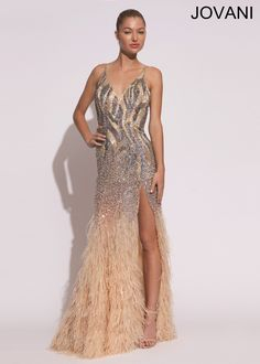 Jovani 73028 Feathered Evening Gown