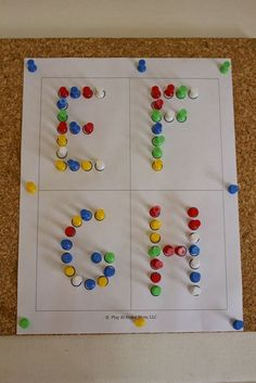 Getting Creative with Push Pins. Alphabet and fine motor practice for… Preschool Literacy, Activities For Kids, Motor Skills Activities, Alphabet Activities, Handwriting Activities, Learning Letters, Kids Learning, Pre Writing, Abc Centers
