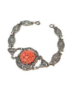 Art Deco Sterling & Coral Bracelet Stamped by GracesVintageGarden