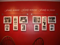 Wall Grouping Decorating Ideas | ... Photo Collage hanging on a red wall with a wall lettering above it