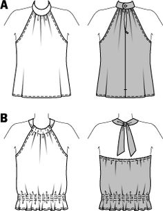Create stylish, feminine, retro-look tops. Try strapless with a cute stand-up collar holding the gathered front and back in place, or backless tied in the back with a smocked, fitted waist. Dress Sewing Patterns, Vintage Sewing Patterns, Clothing Patterns, Fashion Sewing, Diy Fashion, Ideias Fashion, Diy Clothing, Sewing Clothes, Pattern Fashion