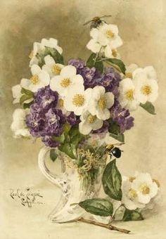Paul de Longpre's watercolor of apple blossoms and violets