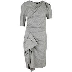 Isabel Marant Kingsley grey draped tweed dress (£385) ❤ liked on Polyvore featuring dresses, isabel marant dress, exposed zipper dress, gray wrap dress, tweed dress and wraparound dress