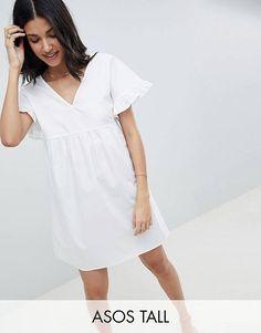 Хлопковое свободное платье мини с V-образным вырезом на груди и спине ASOS DESIGN Tall