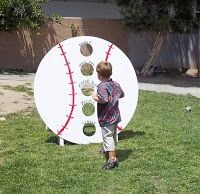 I wanted to come up with a few games for the baseball birthday party. One idea I… I wanted to come up with a few games for the baseball birthday party. One idea I had was a bean bag toss game. Fortunately, my neighbor h… Softball Party, Baseball Birthday Party, Sports Birthday, Sports Party, Birthday Party Games, Birthday Ideas, 2nd Birthday, Fall Birthday, Kids Sports