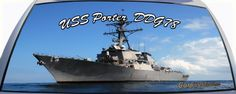 USS Porter is DDG78 a US Navy destroyer ship on a rear window graphic mural.