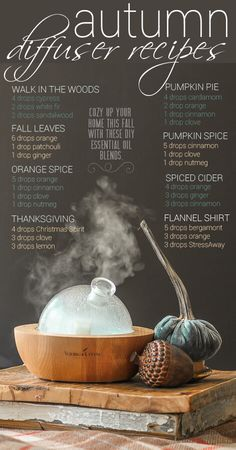 EOs: Fall Diffuser Recipes for Essential Oils Source by JeniaKyle Ginger Essential Oil, Patchouli Essential Oil, Essential Oil Diffuser Blends, Best Essential Oils, Young Living Essential Oils, Aromatherapy Diffuser, Citrus Oil, Diffuser Recipes, Diy Candles