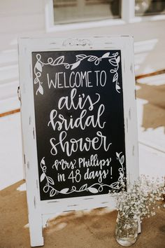 Hand lettered rustic chalkboard sign for a bridal shower. An Antiques and Ivory Rustic Bridal Shower | Ultimate Bridesmaid | Avonne Photography