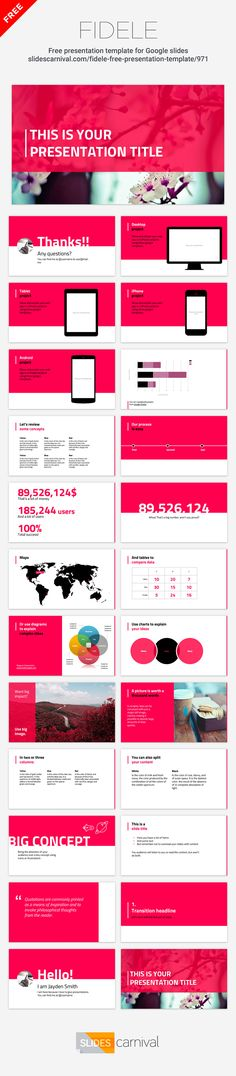 Create professional decks for your meetings with this free presentation template. This design is simple to the bone, and you will be able to adapt it easily to your brand by changing one single color. The layout and look are so clean that they will fit almost any topic. Impress your workmates with this professional and simple design.