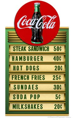Perfect for anyone who enjoys retro Coca-Cola ® style, this cool Coke ® and Menu Tin Sign Set includes a vintage-style menu full of American favorites, and a classic Coca-Cola ® round sign that magnetically attaches to the top of the menu. Vintage Coca Cola, Vintage Diner, Coca Cola Ad, Always Coca Cola, Retro Diner, Pepsi, Vintage Signs, Vintage Ads, Vintage Menu