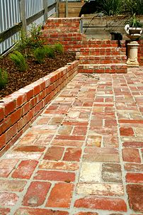 recycled brick paving - Google Search Recycled Brick, Brick Paving, Cement Patio, House Renovations, Decking, Garden Paths, Outdoor Ideas, Recycling, Sidewalk