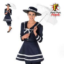 Womens Old Time Bathing Suit Ladies Victorian Swimsuit Fancy Dress Outfit Hat
