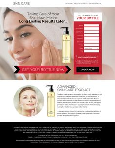 skin care product trial offering bank page design Landing Page Builder, Landing Page Design, Simple Website Design, Advanced Skin Care, Squeeze Page, Stress Relief, Website Template, Facial, Web Design