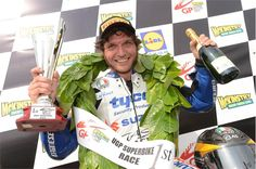 Guy Martin after winning at the Ulster Grand Prix with Tyco Suzuki
