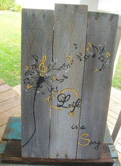 Life is a song dandelion & music note ombre by PolishedExpression, $32.00