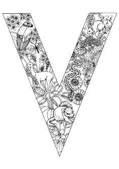 La vie dans la jungle est représentée dans ce coloriage, la lettre V