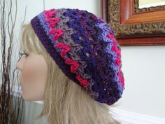 Purple, Eggplant, Lavender and Berry Pink Open Weave Slouch, Tam Hat, Snood, Beret.  Summer Beach Hat.  Teens, Men or Women can Wear This. by yarnnscents on Etsy