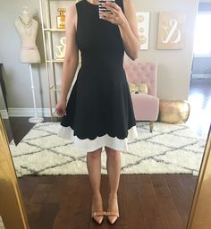 Ann Taylor odette patent leather bow pumps, Aqua scalloped hem dress
