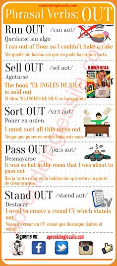 Phrasal verbs out ingles English Tips, English Fun, English Writing, English Study, English Lessons, Learn English, English Verbs, English Vocabulary Words, Grammar And Vocabulary