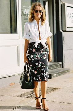 White button-down tied at the waist, worn with a floral print pencil skirt and ankle-strap sandals
