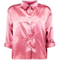 Boohoo Imogen Boxy Satin Shirt ($24) ❤ liked on Polyvore featuring tops, boxy crop top, off the shoulder shirts, pink shirts, pink crop top and bralet tops