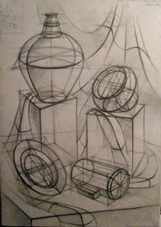 ✔ Contour Drawing Objects Still Life Still Life Sketch, Still Life Drawing, Still Life Art, Pencil Art, Pencil Drawings, Contour Drawings, Charcoal Drawings, Drawing Faces, Academic Drawing