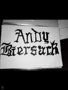 Tattoo design 4: Andy biersack name