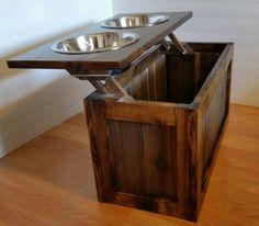 Raised dog feeder with storage elevated feeder by MTrusticwoodwork