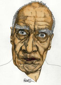 Wilko Johnson - Original Signed Paul Nelson-Esch Drawing Art pencil Illustration portraiture unique decor home dr feelgood retro - Free S&H