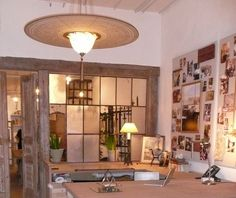 rustic office Loft Office, Office Spaces, Small Office, Design Offices, Office Interior Design, Gourd Lamp, Rustic Office, Reclaimed Furniture, Beautiful Family